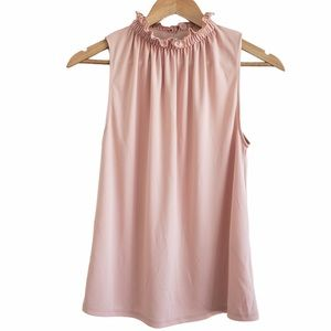 Zara ruffle mock neck top blush pink small